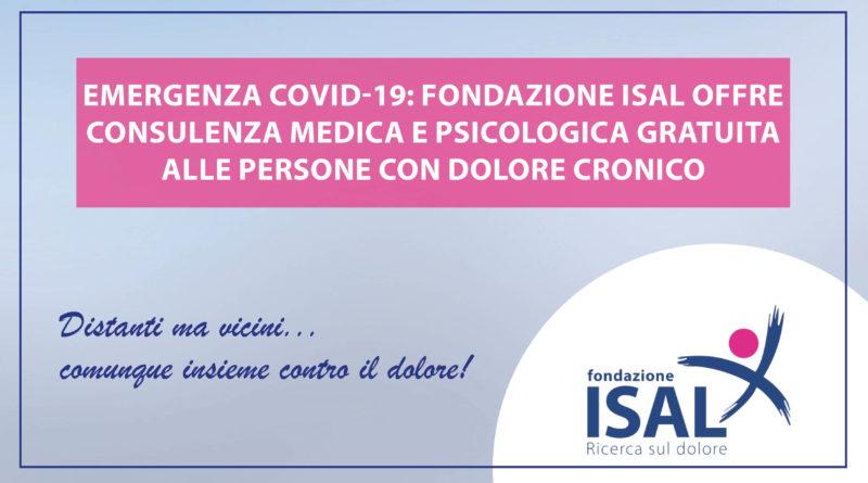 Emergenza Covid-19, Fondazione ISAL offre consulenza medica e psicologica alle persone con dolore cronico